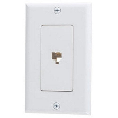VISTA B47174 1Pack Decorator Phone Jack w/plate - White - Consavvy