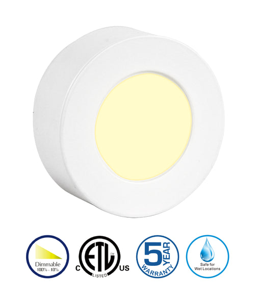 2.5Inch 3000K/4000K AC 12V Recessed or Surface Mount Puck Light, Under-Cabinet Light Unit (12VAC Driver Required) - Consavvy