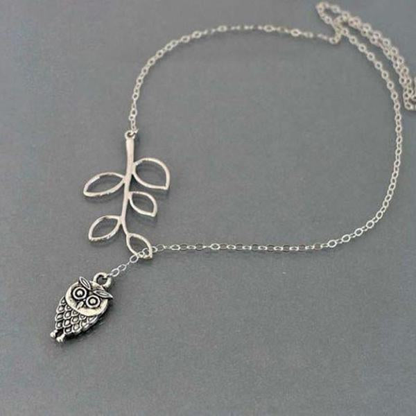 Official Necklace Passion Little Owl and Leaves Necklace - Necklace Passion