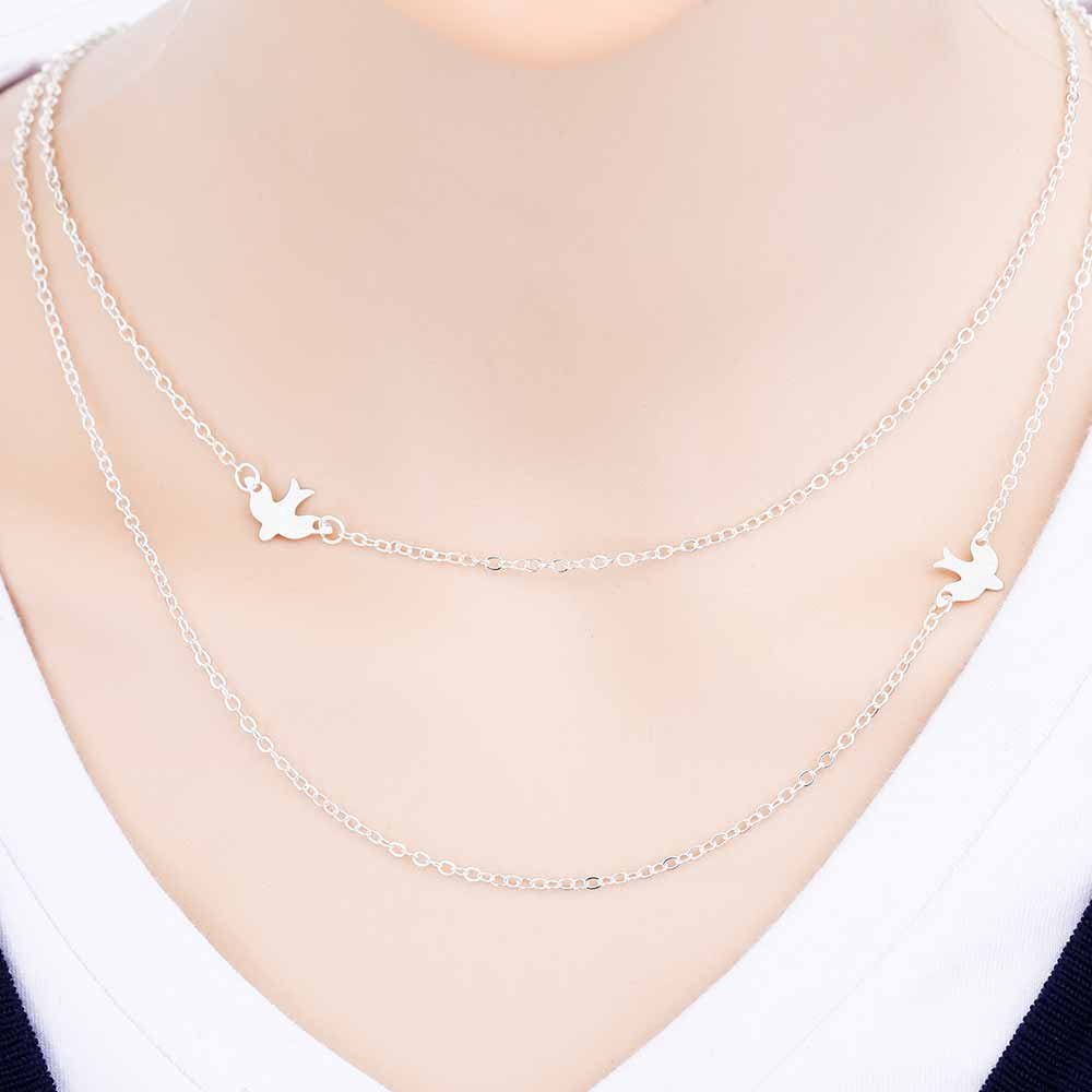 Official Necklace Passion Double Layer Peace Dove Necklace - Necklace Passion