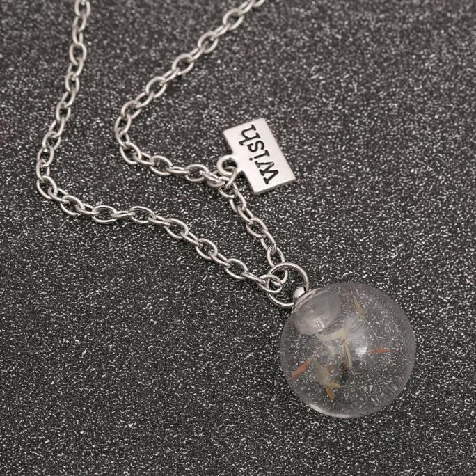Official Necklace Passion Crystal Ball Dandelion Seed Wishing Necklace - Necklace Passion