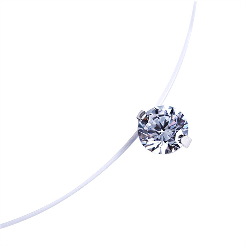 Official Necklace Passion Invisible Line Zircon Pendant Necklace - Necklace Passion