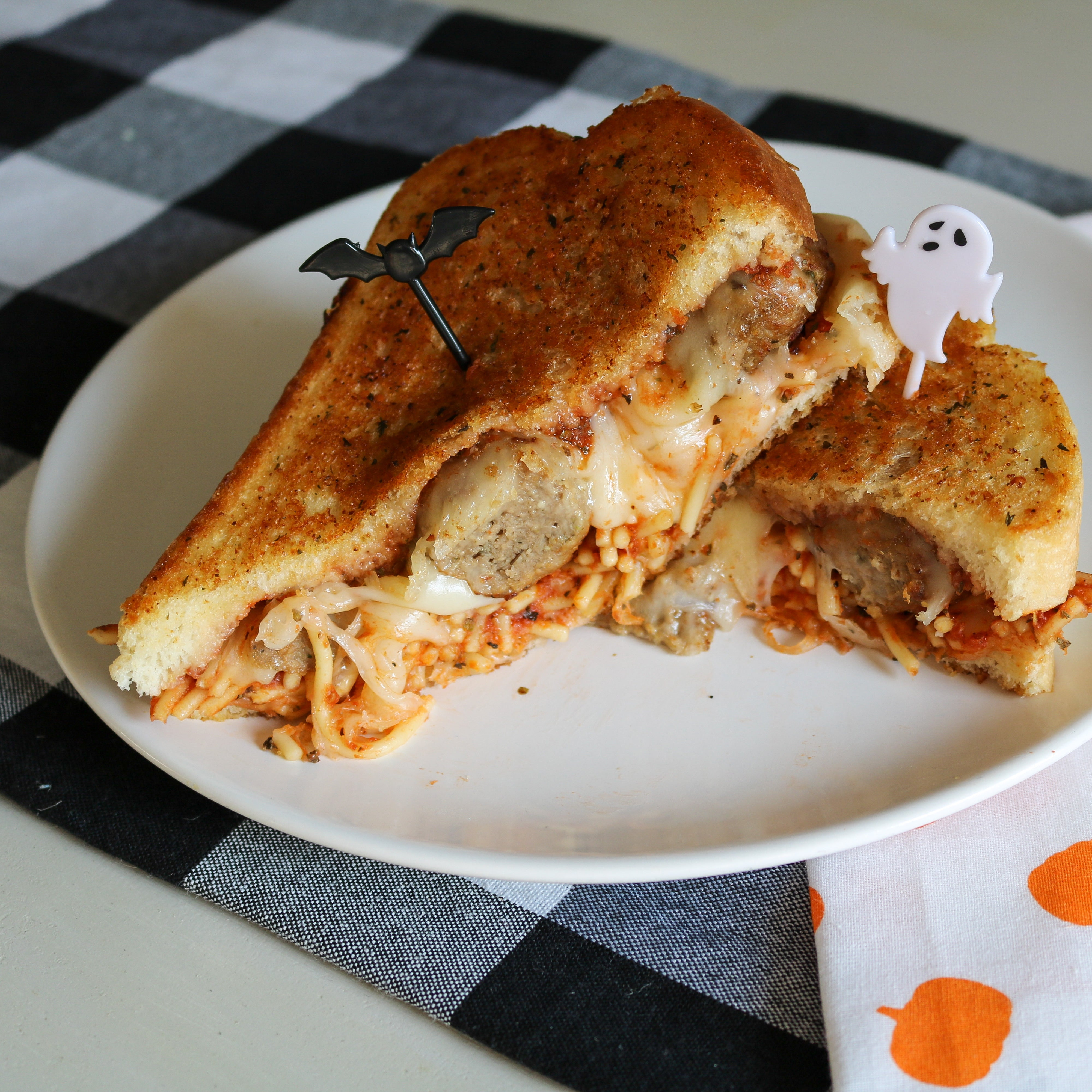 Spaghetti and Meatball Grilled Cheese
