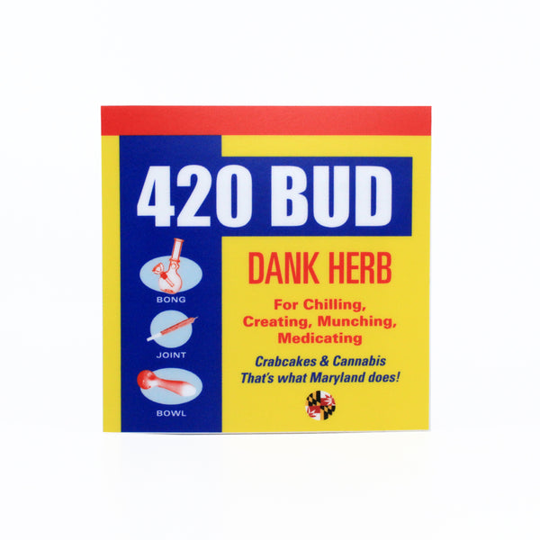 420 Bud Sticker - Crabcakes & Cannabis
