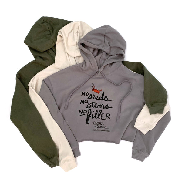 """No Filler"" Women's Cropped Fleece Hoodies"