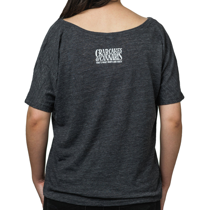 Charcoal Black Ladies Slouchy Tee - Crabcakes & Cannabis
