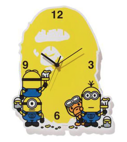 BAPE x Minion Ape Head Clock Yellow