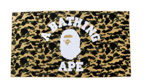 BAPE 1st Camo College Logo Beach Towel Yellow