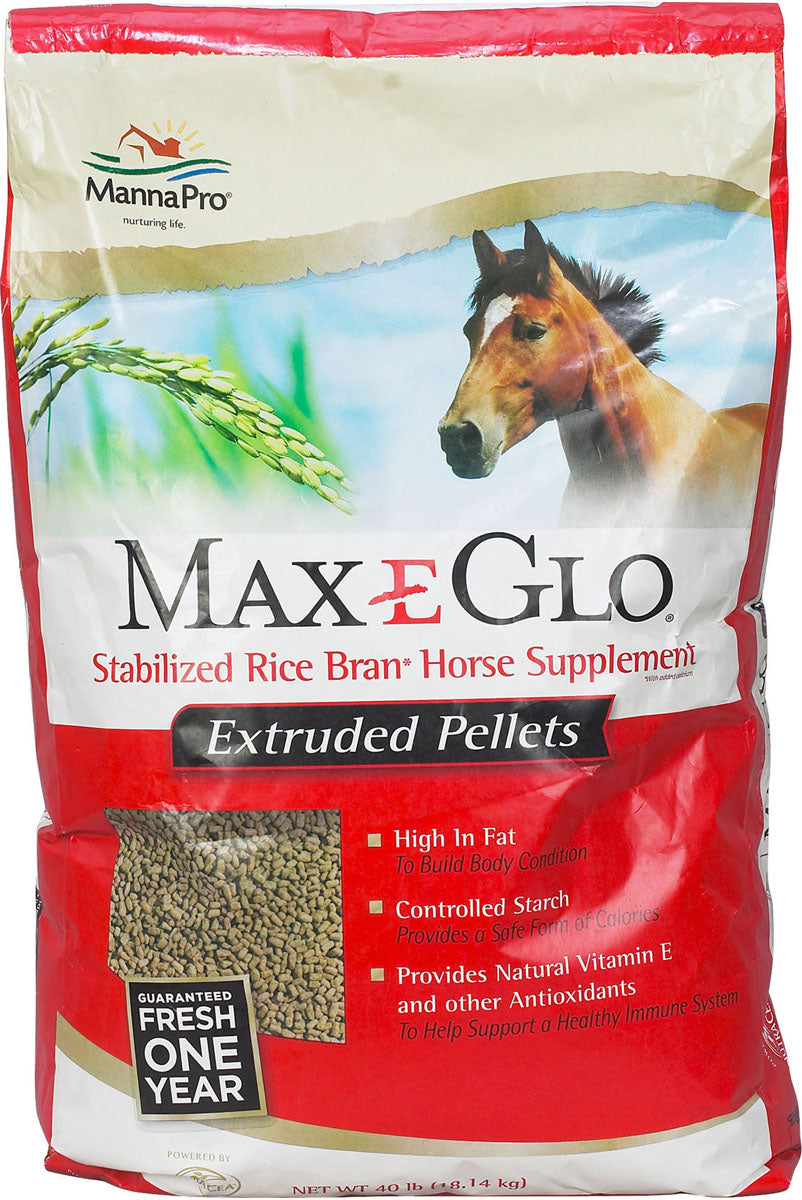 Manna Pro-max-e-glo Rice - Max-e-glo Rice Bran Pellet Supplement For Horses