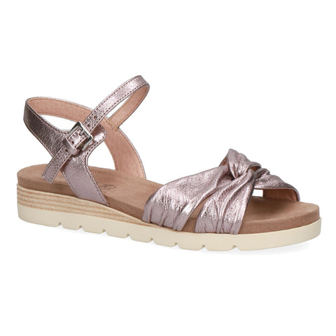 Caprice Low Wedge Sandal 28609 | Soft Pink Metallic