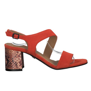 Tamaris Black Heeled Sandal 28385 | Orange/Snake