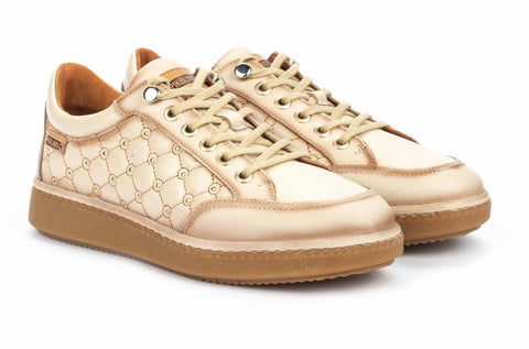 Pikolinos  Baeza Leather Sneaker in cream leather W8V