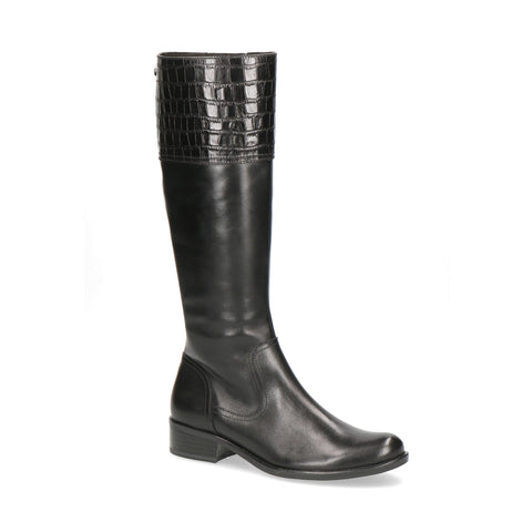 Caprice Long Rider Boot | 25535 | Black/Croc Detail