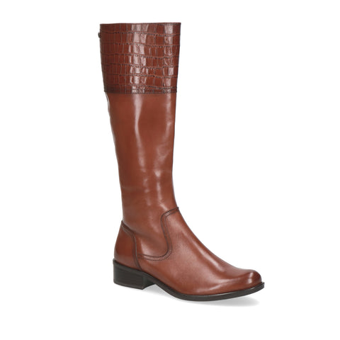Caprice Long Rider Boot | 25535 | Cognac/Croc Detail
