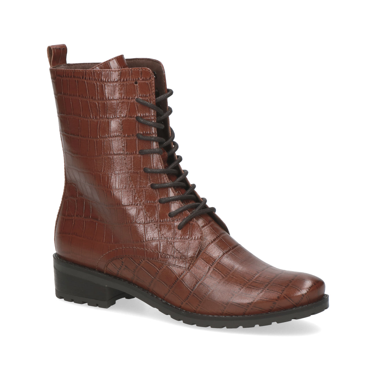 Caprice Lace Up Boot | 25101 | Cognac Croc