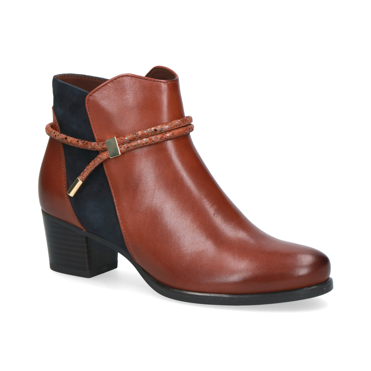 Caprice Low Heeled Ankle Boot | 25307 | Cognac/Ocean