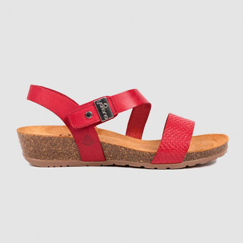 Yokono Capri 042 Wedge Sandal | Red