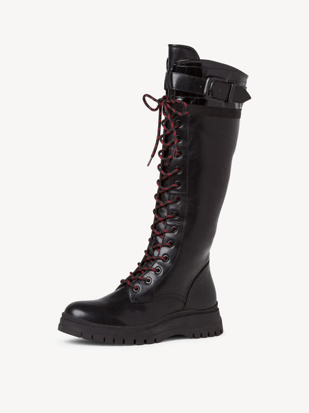 Tamaris Long Lace Up Boot | 25620 | Black