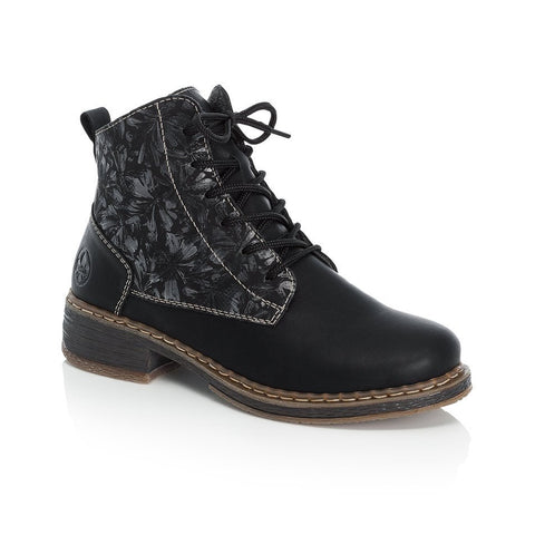 Rieker Lace Up Ankle Boot | 73030-00 | Black/Metallic