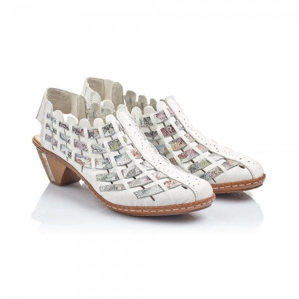 Rieker 46778-80 Leather Block Heel Shoes | White Multi