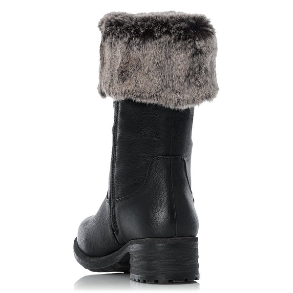 Rieker Faux Fur Lined Calf Boots | 96854-00 | Black