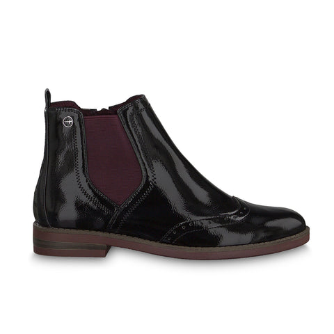 Tamaris Chelsea Boot 25313 | Black Patent