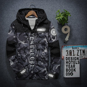 New Spring Men Jacket Casual Camouflage Windbreaker Zipper Hooded Bomber Jackets