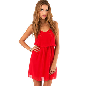 2017 Women Summer Dress Casual V Neck Beach Dress Sleeveless Red Black Mini Dresses Plus Size