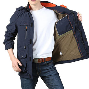 2018 Brand Clothing Bomber Jacket Men Army Jacket Army Green Multi-pocket Waterproof Jacket Windbreaker Men Coat