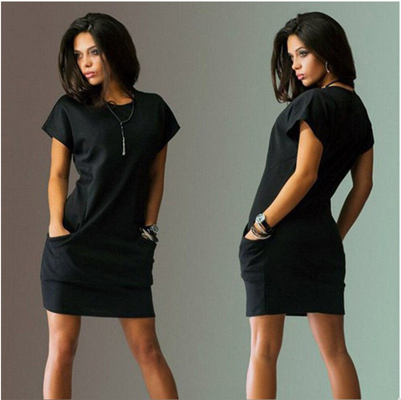 Casual Short Sleeve O-Neck Black Blue Dresses Slim Pocket Bodycon