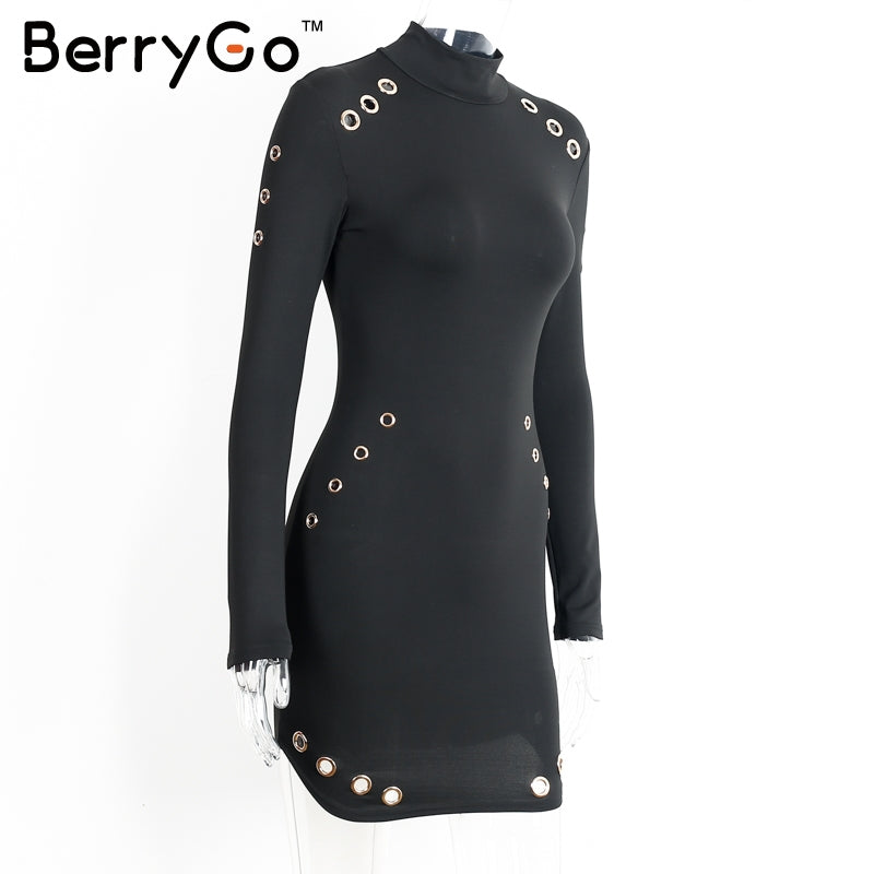 slim long sleeve black dress Elegant