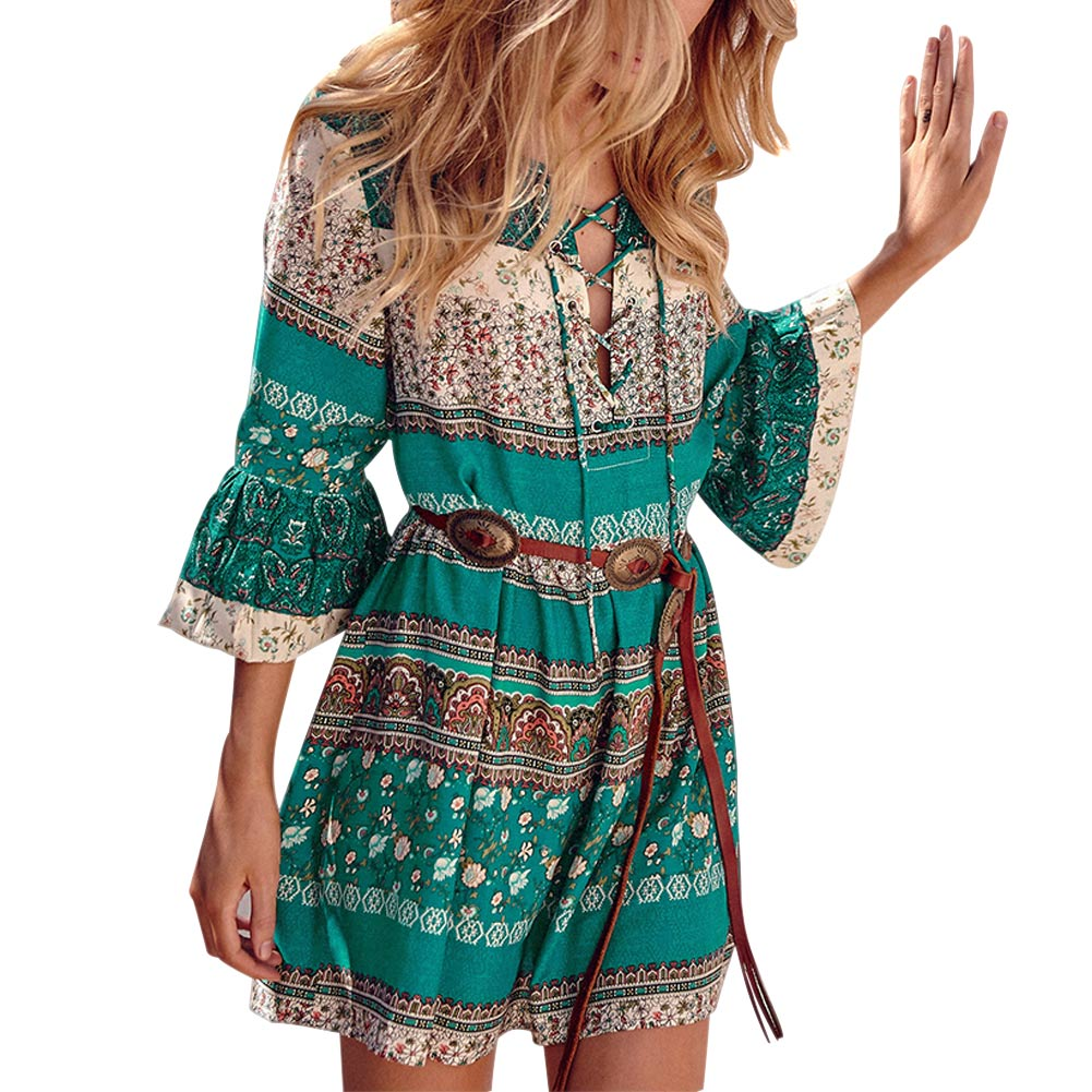 Fashion Bohemia Women Sexy Dress Printed Trumpet Sleeve Crossed Bandage Summer Beach Ladies Girls Casual Short Dresses F