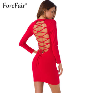 Forefair Sexy Backless Cross Lace Up Dress For Women Night Clubwear Party Dresses 2017 Autumn Long Sleeve Slim Bodycon Dress