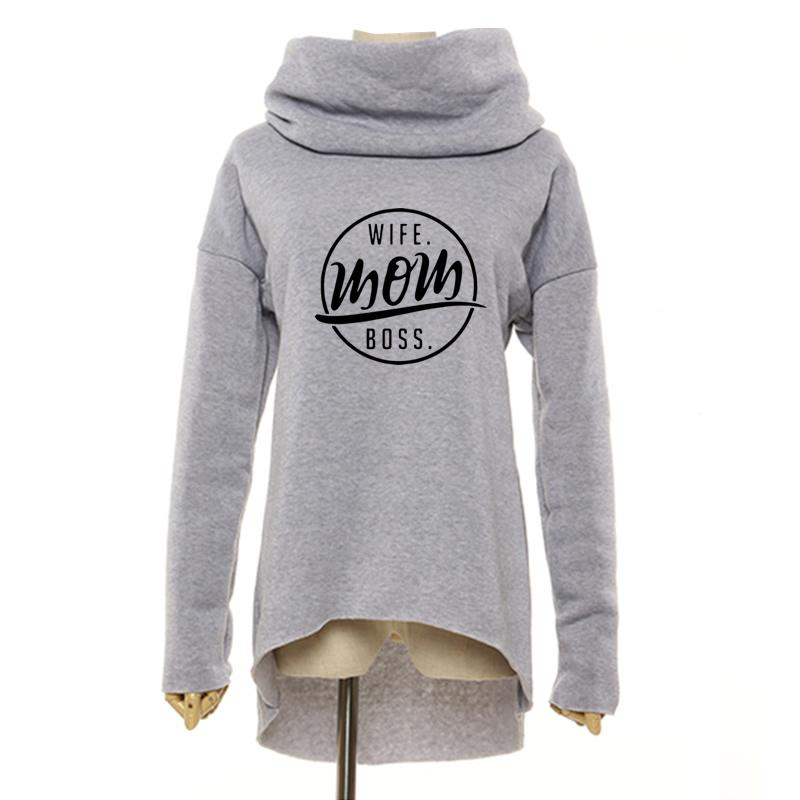 Women Winter Hoodies Scarf Collar Long Sleeve Fashion Casual Autumn Sweatshirts Pullovers