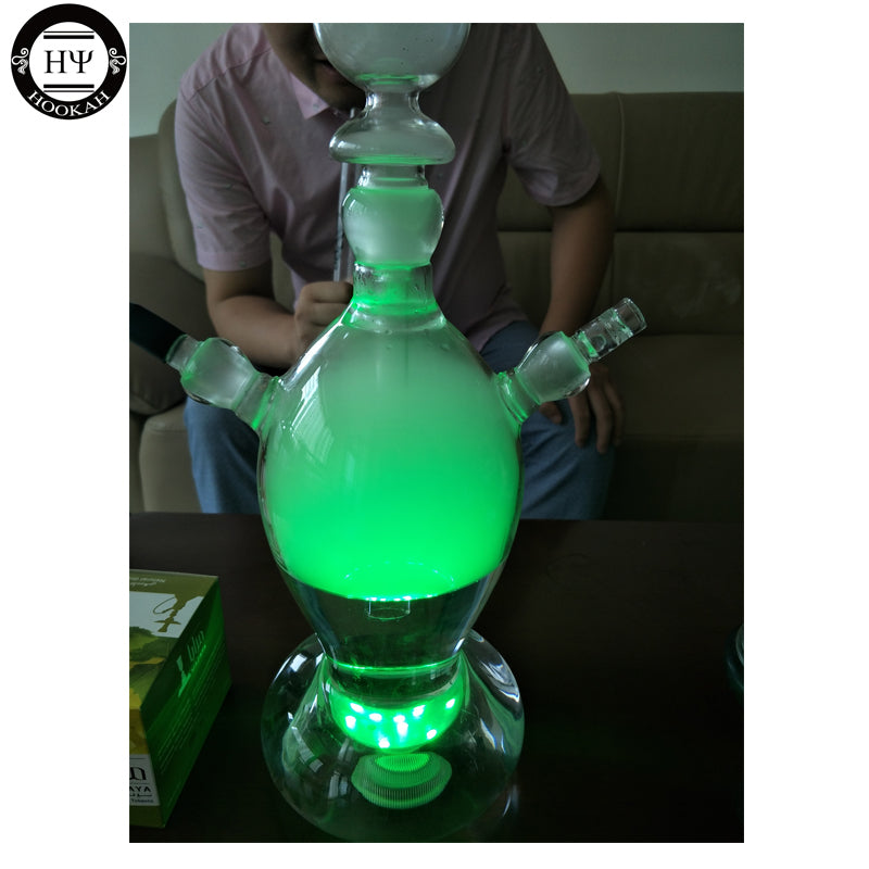 New design shisha hookah led art glass hookah rocket shisha rugby shape USA russia market popular with led light charcoal holder