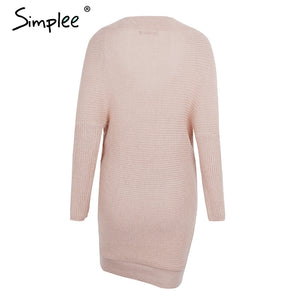 V neck cross knitting sweater dress