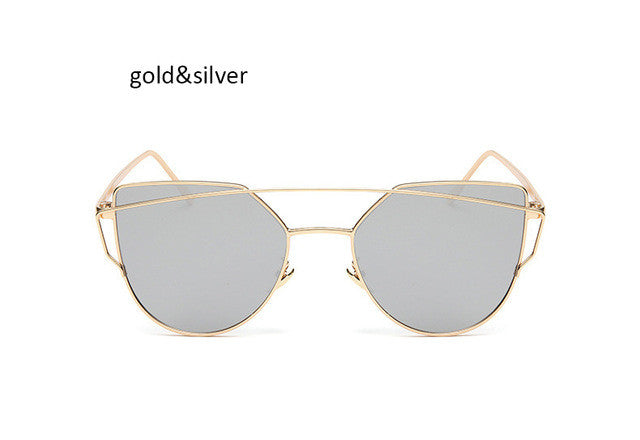 Fashion New Women Clear Lens Cat Eye Sunglasses Ladies Mirror Sun Glasses For Female