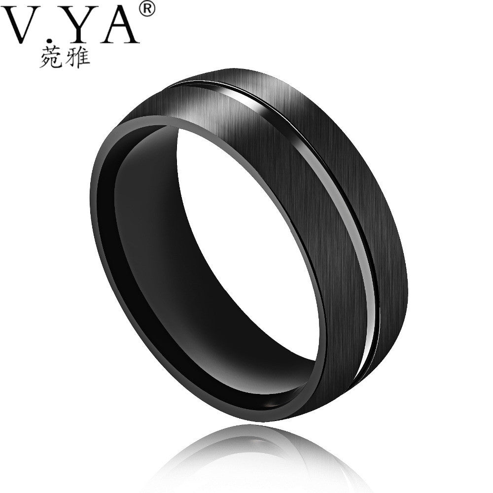 V.YA Fashion Stainless Steel Men Rings 2017 Luxury Brand Simlple Male Jewelry Black ARC Smooth Design Creative Ring