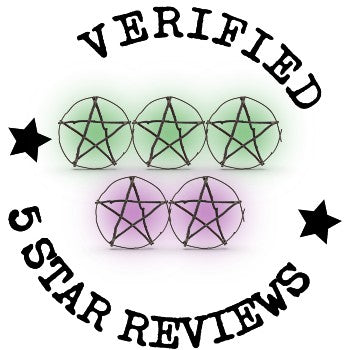 Verified 5 Star Reviews Badge With 5 Wiccan Pentagrams In Purple & Green Representing Stars
