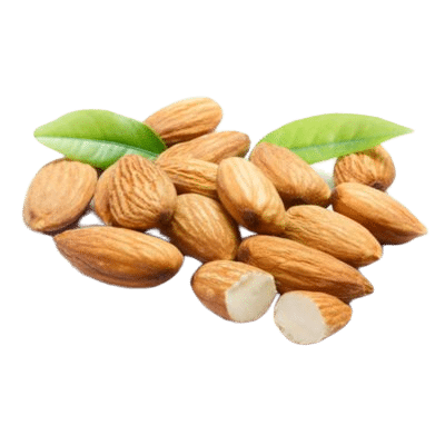 Pile Of Almond Nuts On Green Leaves On White Background