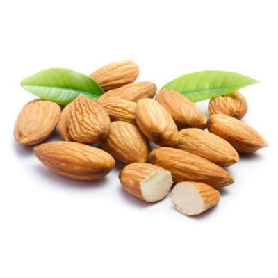 A Portion Of Brown Almond Nuts Alongside Green Leaves