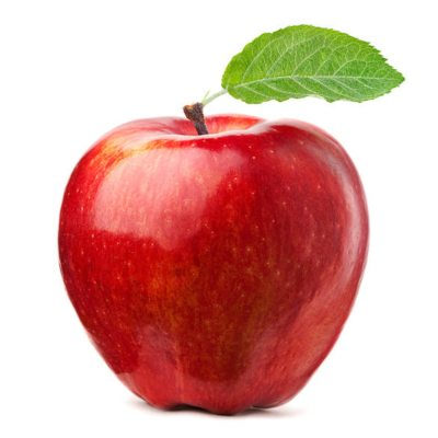 Bright Red Apple With Green Leaf On Top Of Stalk