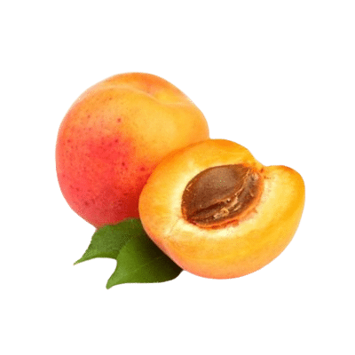 Apricot Alongisde Half Apricot & Kernel On White Background