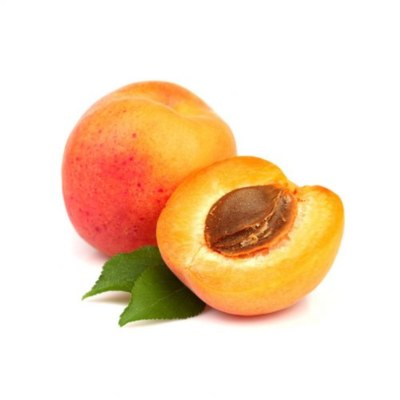 Orange Whole Apricot Alongside Half Apricot With Exposed Flesh & Kernel On White Background