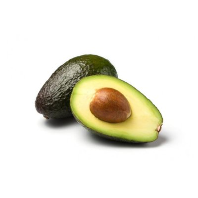 Dark Green & Purple Avocado Alongside Chopped Fleshy Avocado & Kernel On White Background