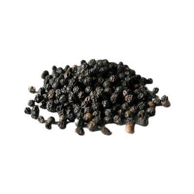 Black Peppercorn Pile From Front On White Background