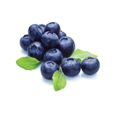 A Pile Of Dark Coloured Blueberries Alongside Three Green Blueberry Leaves