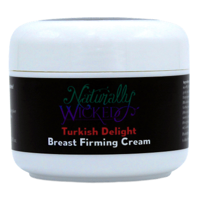 Naturally Wicked Turkish Delight Breast Firming Cream On Black Background
