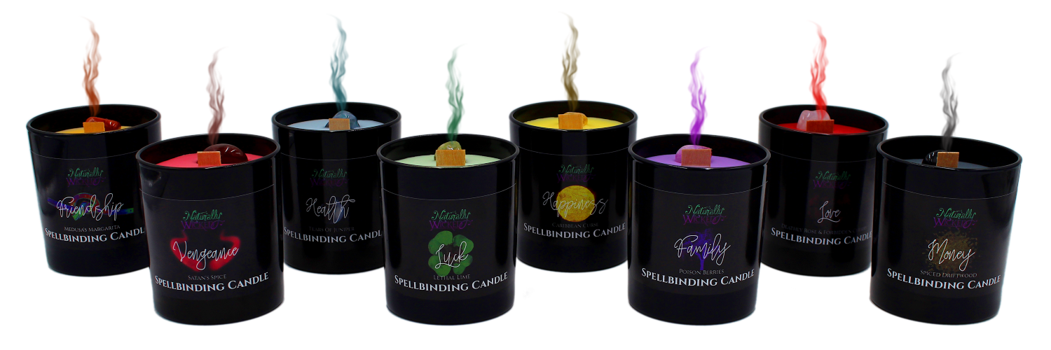 Naturally Wicked Spellbinding Candles With Magical Coloured Smoke Rising From The Top Of Each Enchanting Black Glass