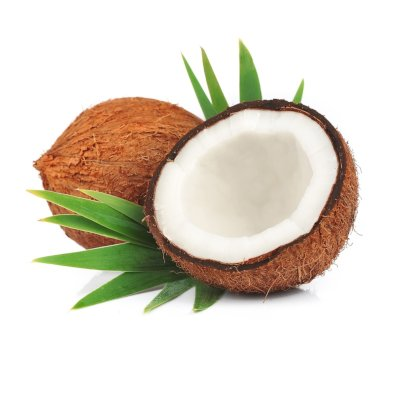 Coconut In Two Halves Surrounded By Green Palm Leaves On White Background